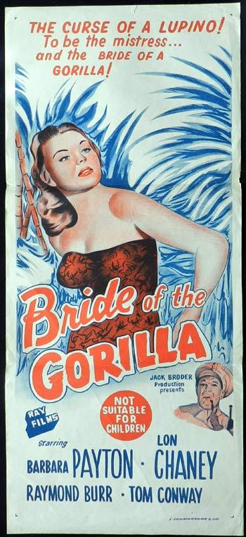 BRIDE OF THE GORILLA 1951 Vintage Daybill poster Voodoo Curse!