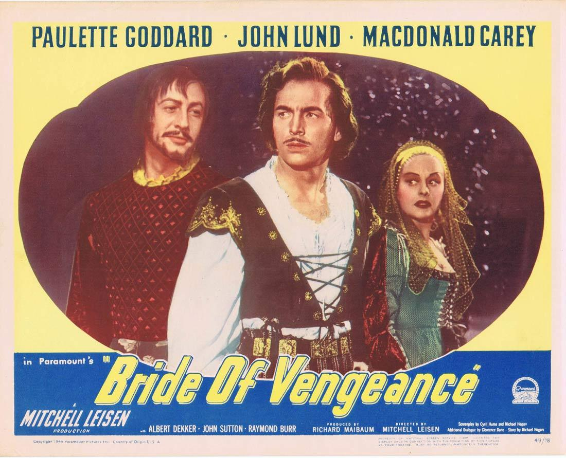 BRIDE OF VENGEANCE Lobby Card 3 Paulette Goddard John Lund MacDonald Carey