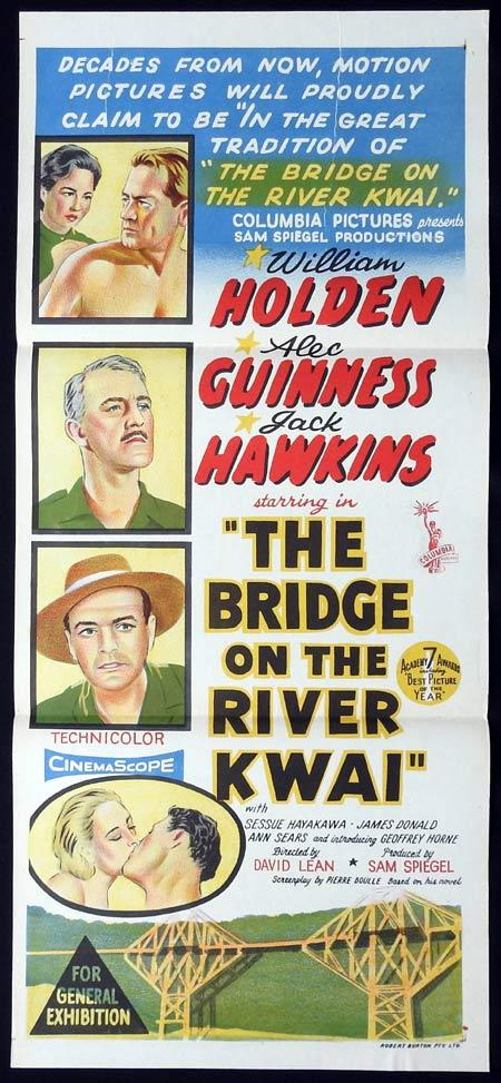 THE BRIDGE ON THE RIVER KWAI Original Daybill Movie Poster Alec Guinness Academy Awards release