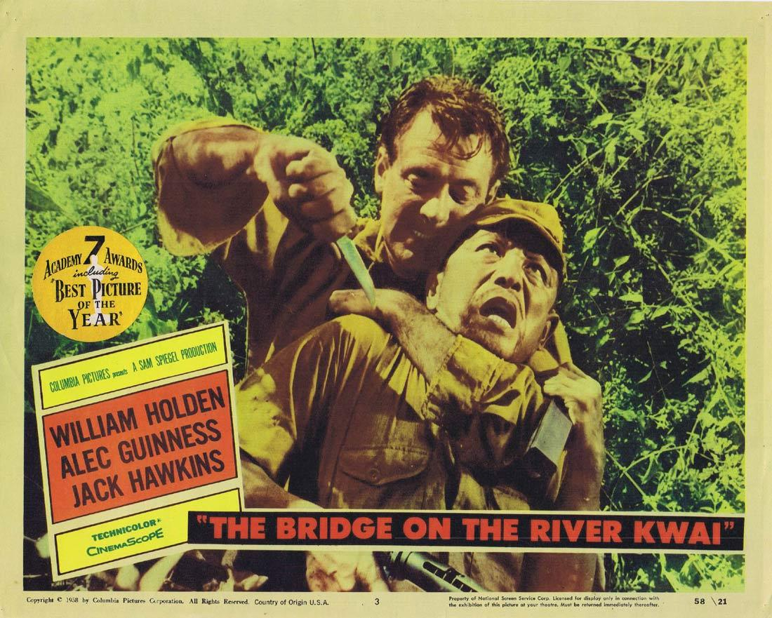 THE BRIDGE ON THE RIVER KWAI Original Lobby Card 3 William Holden Alec Guninnes