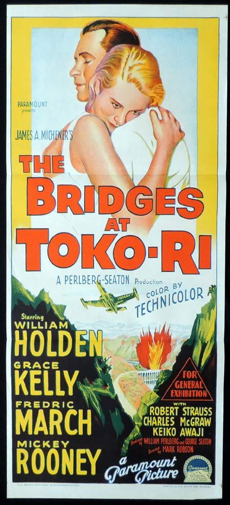 THE BRIDGES AT TOKO RI Original Daybill Movie Poster WILLIAM HOLDEN Grace Kelly Richardson Studio
