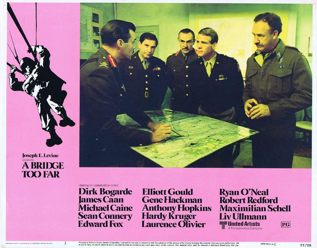A Bridge Too Far, Richard Attenborough, Dirk Bogarde James Caan Michael Caine Sean Connery Edward Fox Elliott Gould Anthony Hopkins Gene Hackman Hardy Krüger Laurence Olivier Robert Redford Maximilian Schell Liv Ullmann