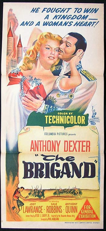 THE BRIGAND '52 Anthony Dexter RARE Daybill Movie poster