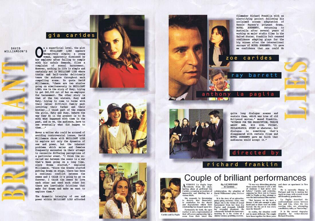 BRILLIANT LIES Original Movie Progamme Gia Carides Anthony LaPaglia