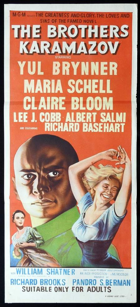 THE BROTHERS KARAMAZOV Original Daybill Movie Poster Yul Brynner Maria Schell Claire Bloom