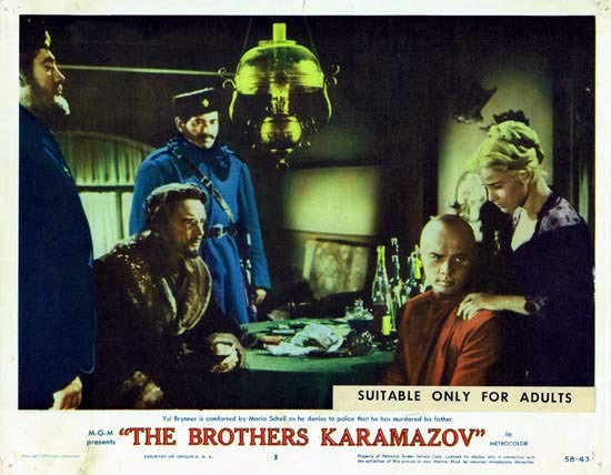THE BROTHERS KARAMAZOV 1958 Lobby Card 3 Yul Brynner