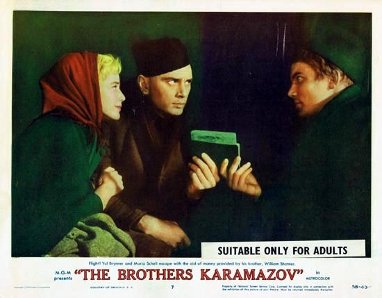 THE BROTHERS KARAMAZOV 1958 Lobby Card 7 Yul Brynner