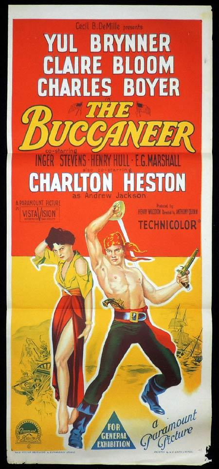 THE BUCCANEER Original Daybill Movie Poster Charlton Heston