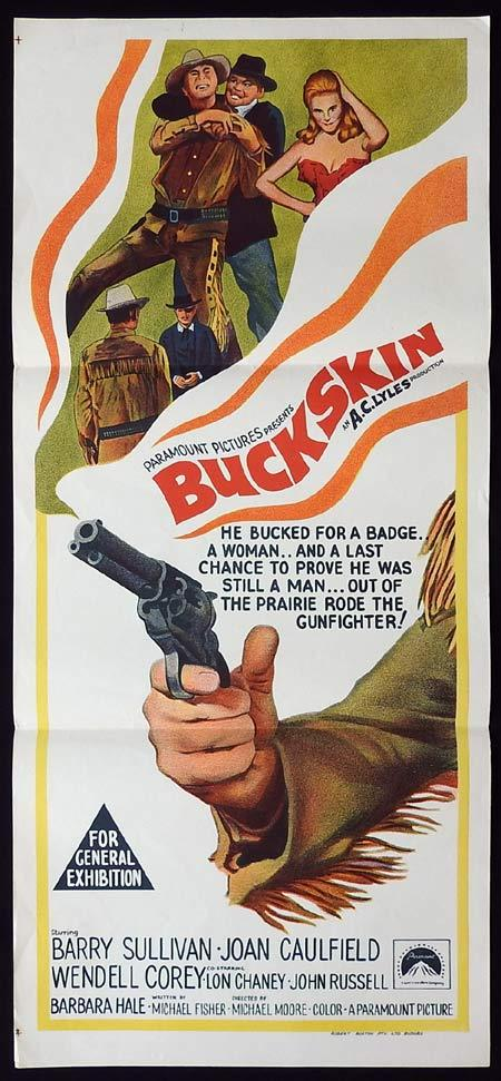 BUCKSKIN Original Daybill Movie Poster Barry Sullivan Joan Caulfield