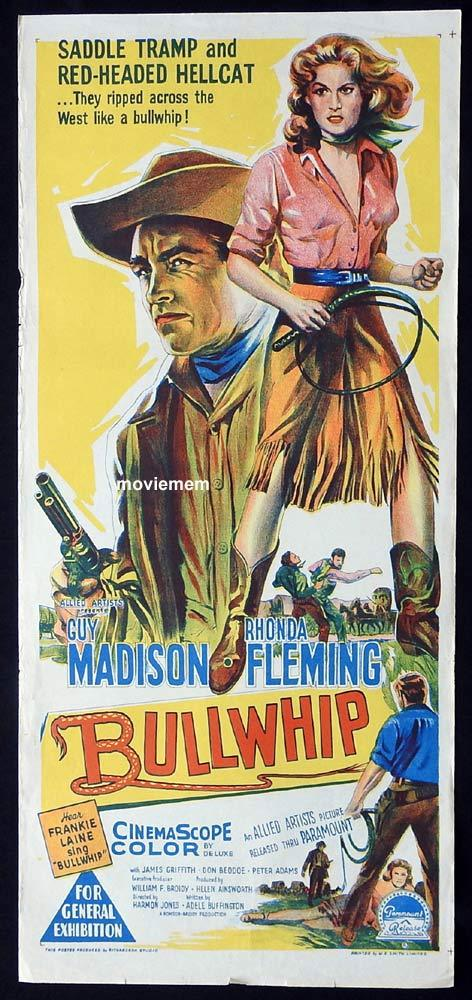 BULLWHIP Original Daybill Movie Poster Guy Madison Rhonda Fleming