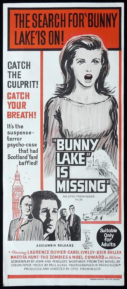 BUNNY LAKE IS MISSING Original Daybill Movie Poster Keir Dullea Carol Lynley