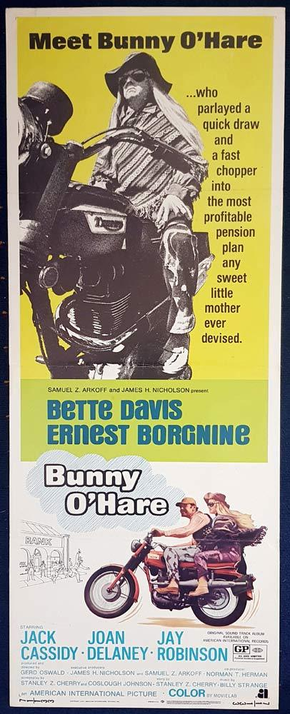 BUNNY O'HARE Original US Insert Movie Poster Ernest Borgnine Bette Davis