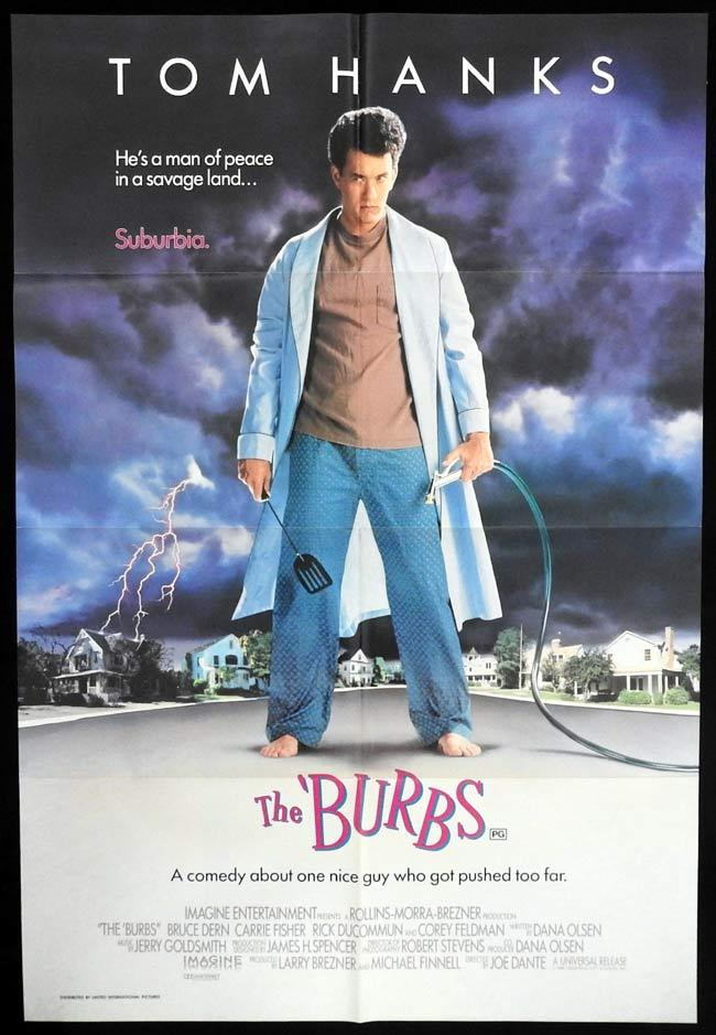 THE BURBS Original One sheet Movie Poster TOM HANKS Bruce Dern
