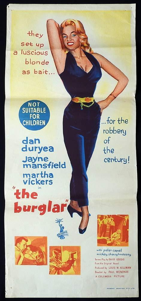 THE BURGLAR Original Daybill Movie Poster Jayne Mansfield Film Noir