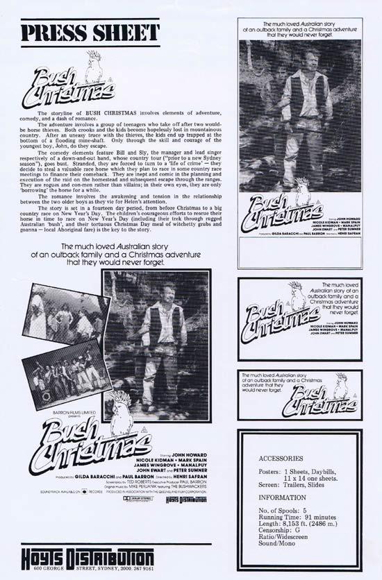 BUSH CHRISTMAS Rare AUSTRALIAN Movie Press Sheet