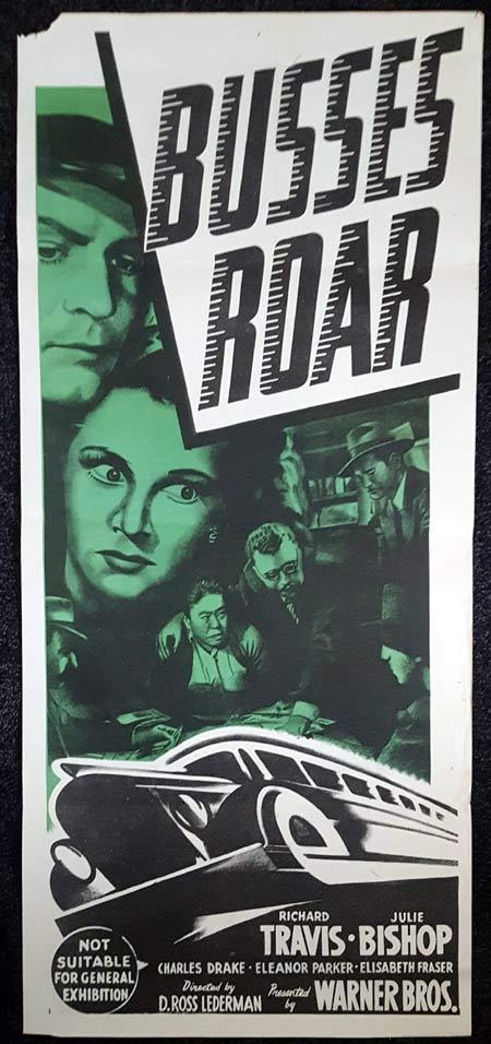 BUSSES ROAR Daybill Movie poster Charles Drake Eleanor Parker Buses