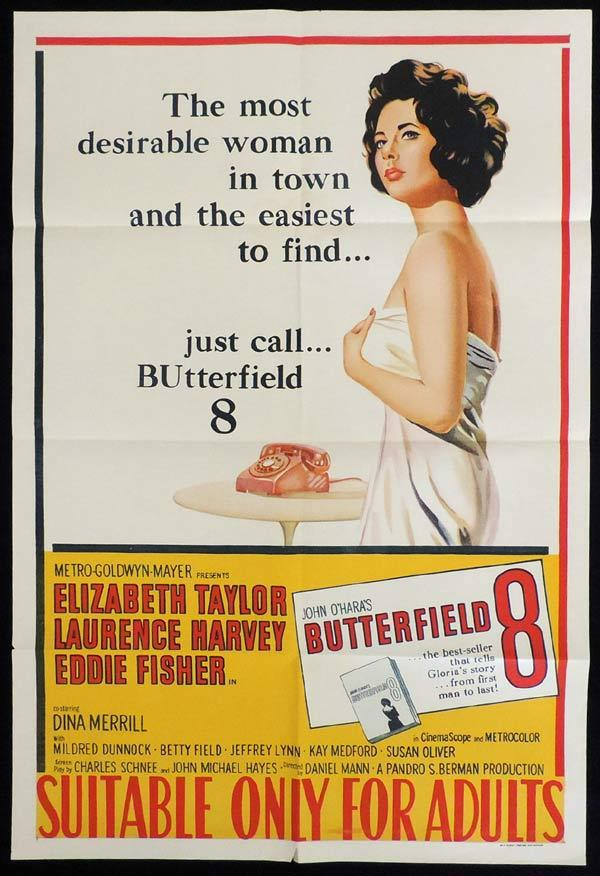 BUTTERFIELD 8 One Sheet Movie Poster Elizabeth Taylor