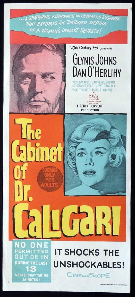 THE CABINET OF DR CALIGARI Original Daybill Movie Poster Glynis Johns Dan O'Herlihy