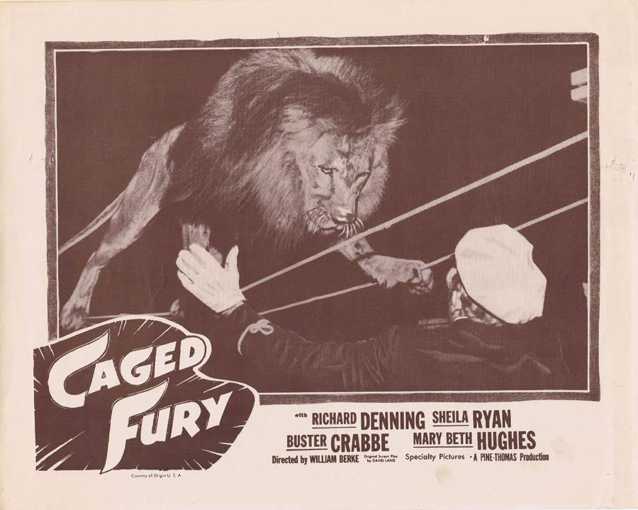 CAGED FURY Lobby Card 2 Richard Denning LION TAMER Buster Crabbe