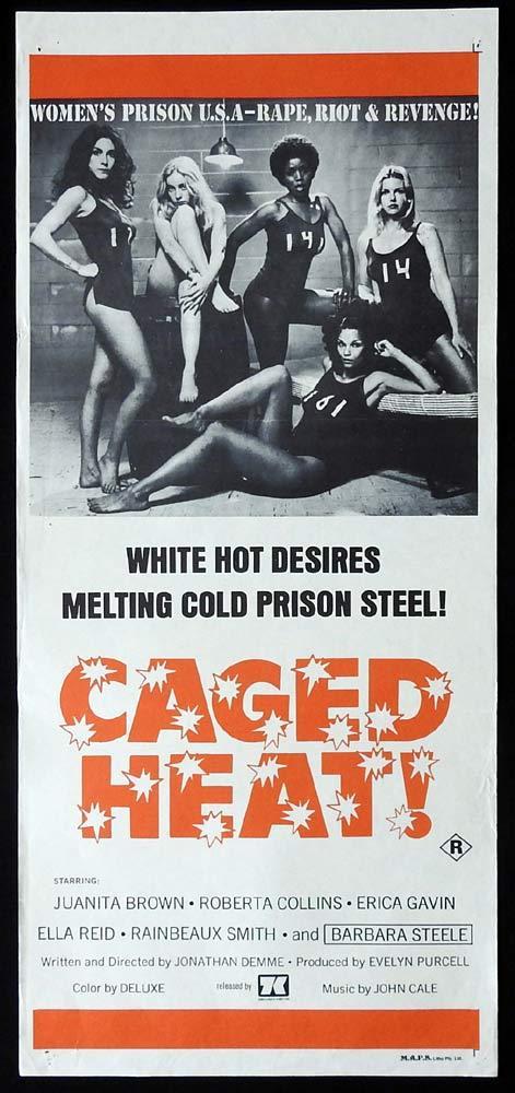 CAGED HEAT Original Daybill Movie Poster Sexploitation Prison Bad Girls
