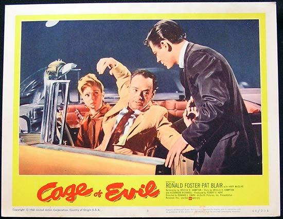 CAGE OF EVIL 1960 Film Noir Bad Girl Lobby card #3