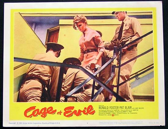 CAGE OF EVIL 1960 Film Noir Bad Girl Lobby card #4