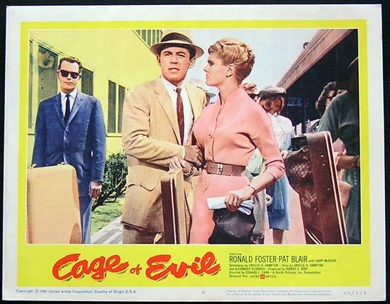 CAGE OF EVIL 1960 Film Noir Bad Girl Lobby card #5