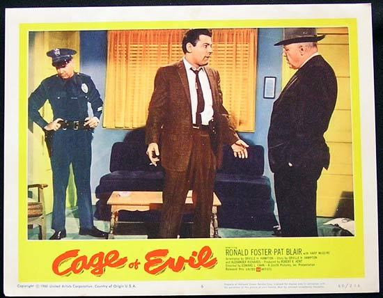 CAGE OF EVIL 1960 Film Noir Bad Girl Lobby card #6