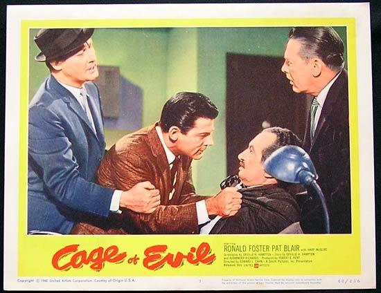 CAGE OF EVIL 1960 Film Noir Bad Girl Lobby card #7