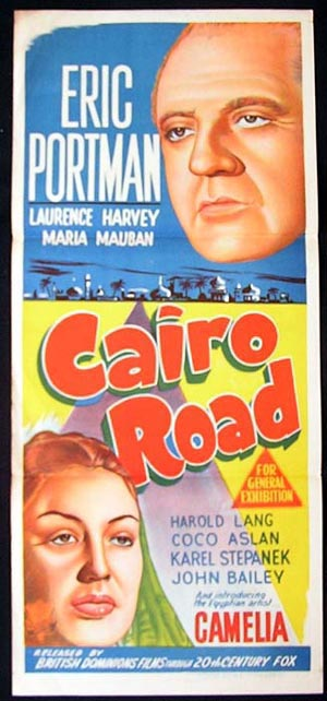 CAIRO ROAD Vintage Daybill Movie poster Eric Portman Laurence Harvey