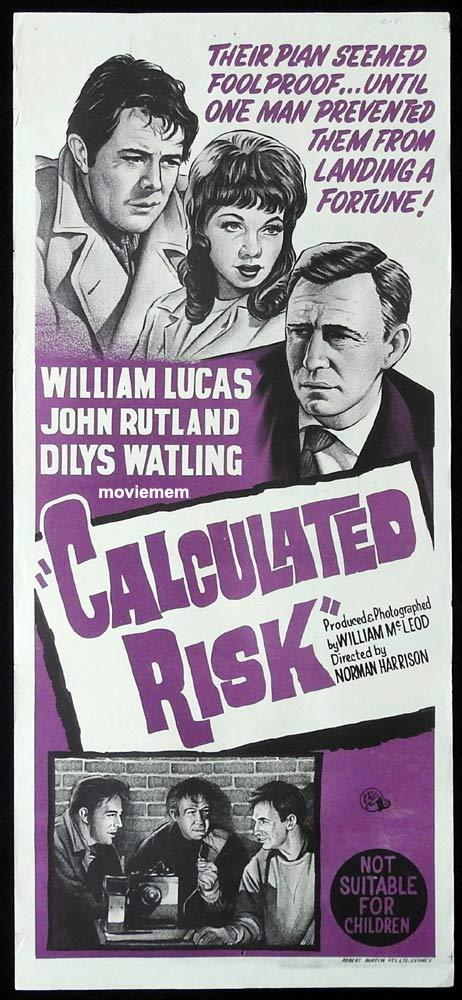 CALCULATED RISK Original Daybill Movie Poster Warren Mitchell Film Noir