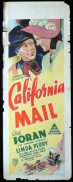 CALIFORNIA MAIL Long Daybill Movie poster 1936 Dick Foran Western