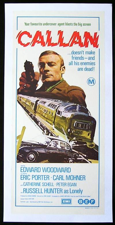CALLAN 1973 Edward Woodward RARE ORIGINAL LINEN BACKED poster