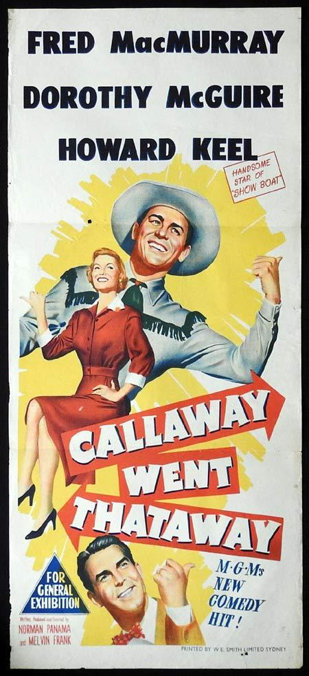 CALLAWAY WENT THATAWAY Original Daybill Movie poster Fred MacMurray Dorothy McGuire