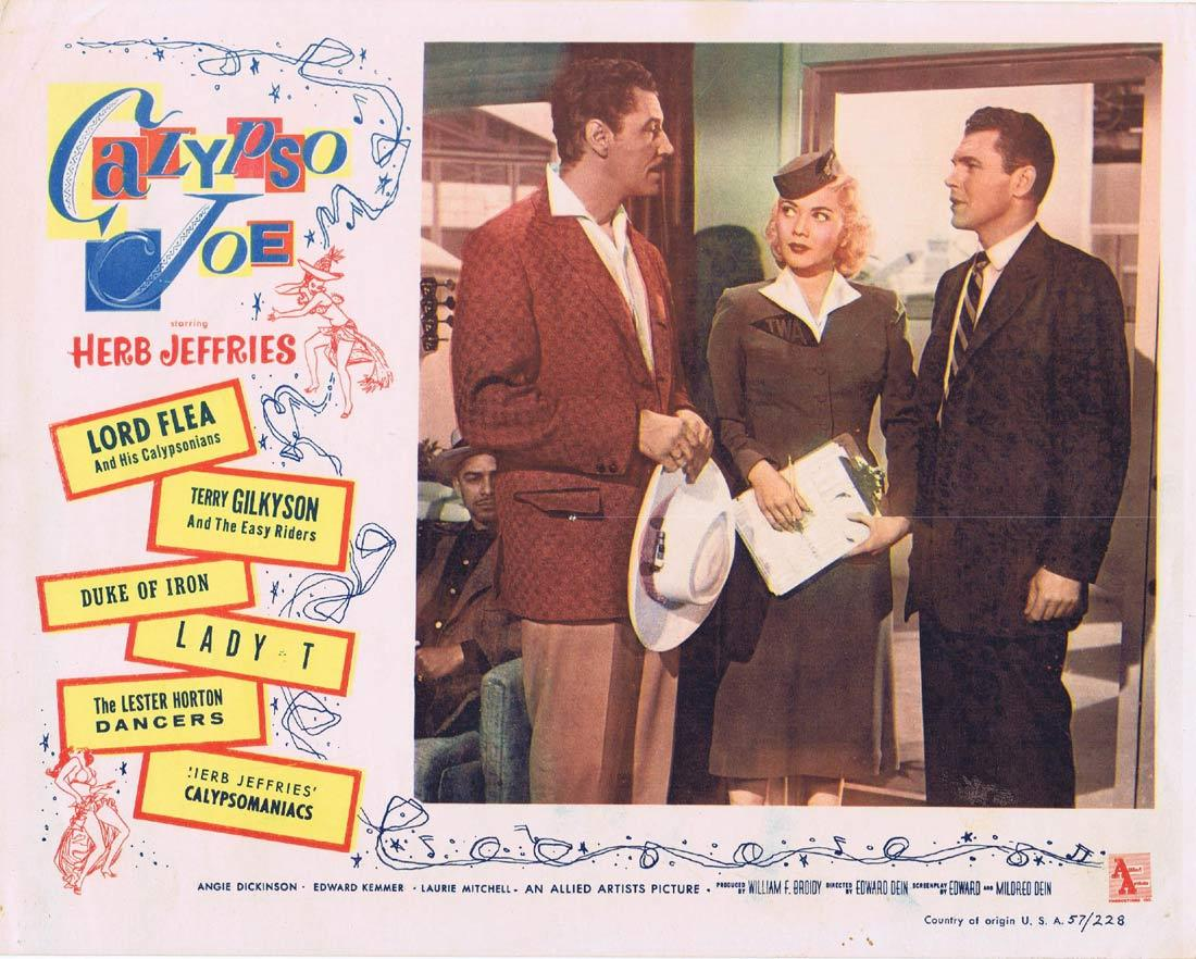 CALYPSO JOE Lobby Card 2 Herb Jeffries Angie Dickinson Flight Attendant