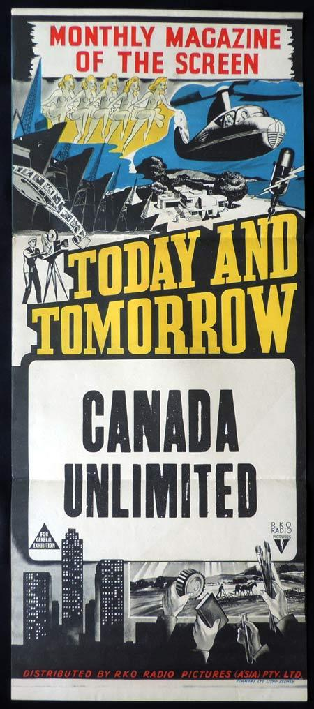 CANADA UNLIMITED Stock Blank RKO Daybill Movie poster 1950s Newsreel