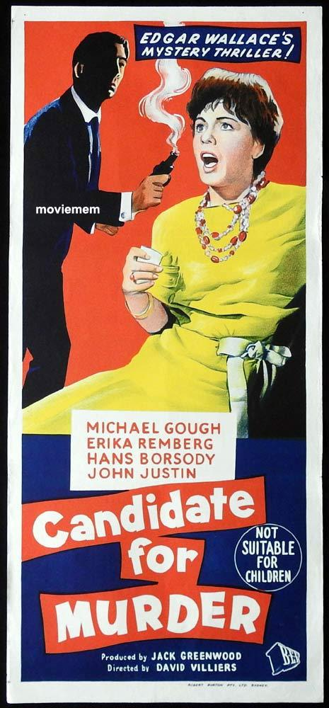 CANDIDATE FOR MURDER Original Daybill Movie Poster Michael Gough Edgar Wallace