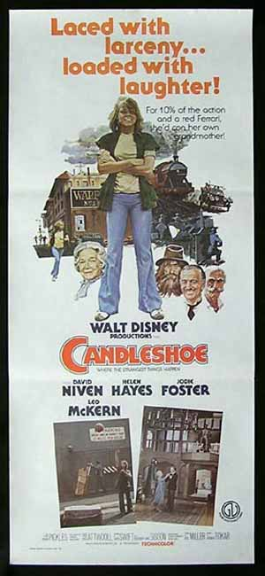 CANDLESHOE Original  daybill Movie Poster Jodie Foster David Niven Helen Hayes