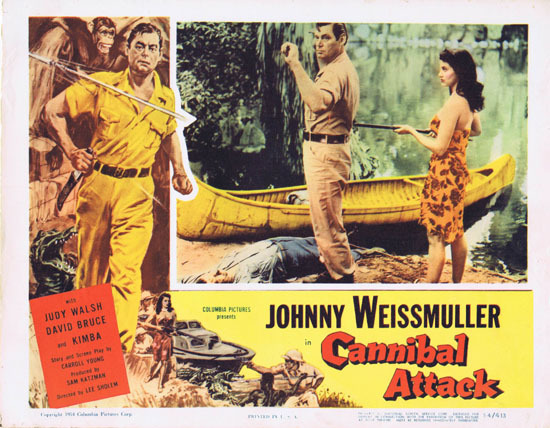 CANNIBAL ATTACK 1954 Lobby Card 2 Jungle Jim Johnny Weissmuller