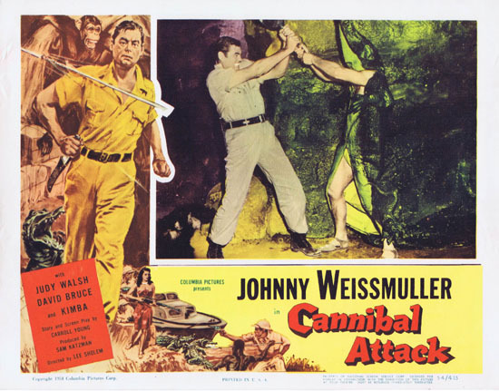 CANNIBAL ATTACK 1954 Lobby Card 5 Jungle Jim Johnny Weissmuller