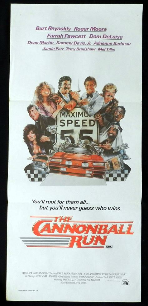 CANNONBALL RUN Burt Reynolds Roger Moore VINTAGE Daybill Movie poster