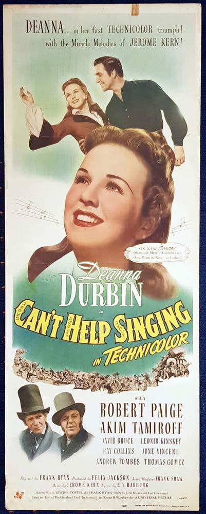 CAN'T HELP SINGING Original US Insert Movie Poster Deanna Durbin Robert Paige