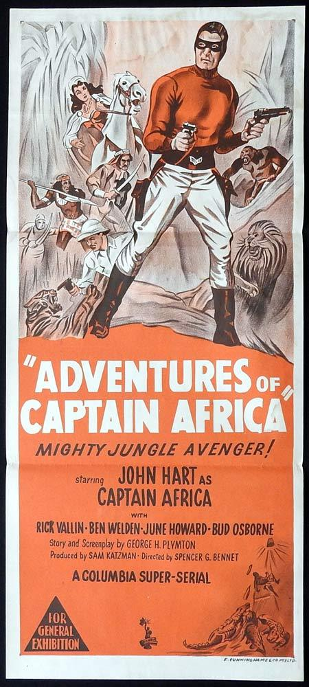 ADVENTURES OF CAPTAIN AFRICA Original Daybill Movie Poster John Hart Columbia Serial