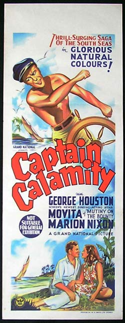CAPTAIN CALAMITY 1936 George Houston LONG DAYBILL Movie poster Australian content