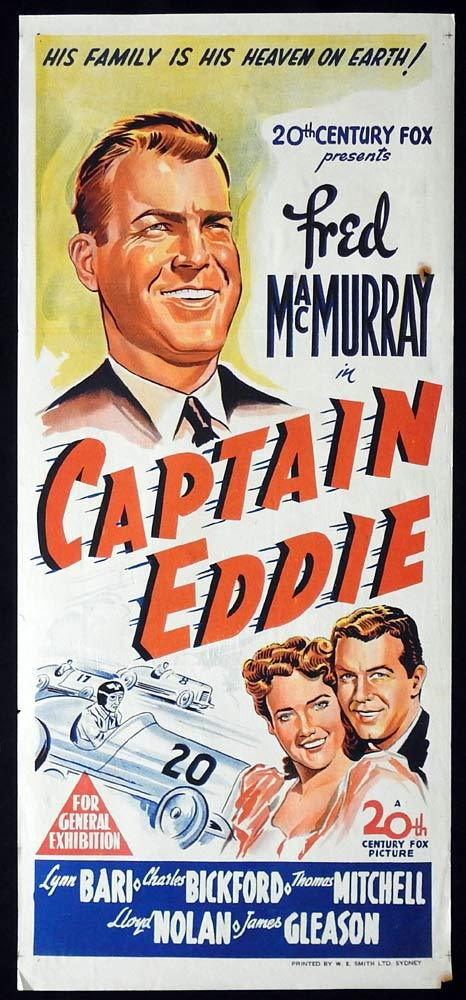 CAPTAIN EDDIE Original Daybill Movie poster Fred MacMurray Lynn Bari