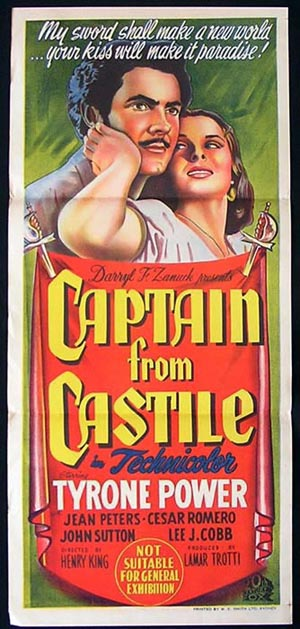 THE CAPTAIN FROM CASTILE Movie Poster 1947 Tyrone Power Darnell daybill