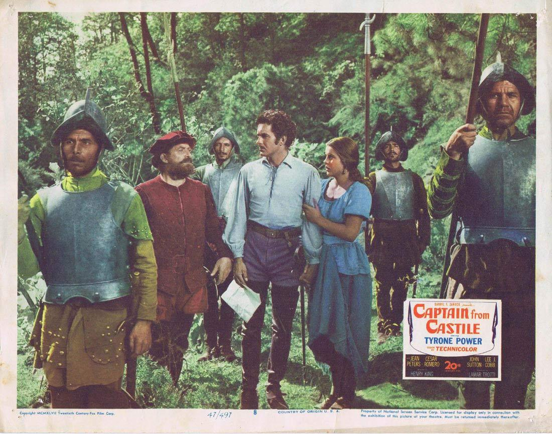 CAPTAIN FROM CASTILE Lobby Card 8 Tyrone Power Jean Peters Cesar Romero