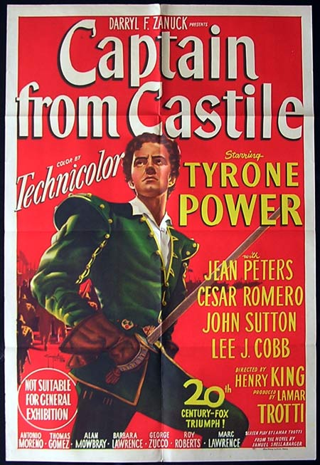 CAPTAIN FROM CASTILE One Sheet Movie poster Tyrone Power