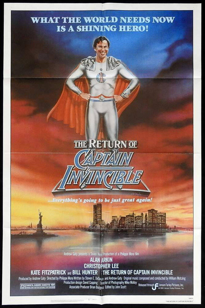 RETURN OF CAPTAIN INVINCIBLE US One sheet Movie Poster Alan Arkin AUSTRALIAN MADE FILM