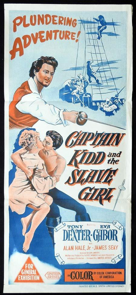 CAPTAIN KIDD AND THE SLAVE GIRL Original Daybill Movie Poster Anthony Dexter Eva Gabor Alan Hale Jr.